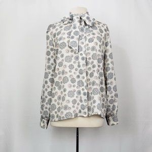 Vintage 80s Pendleton White Floral Pussy Bow Top